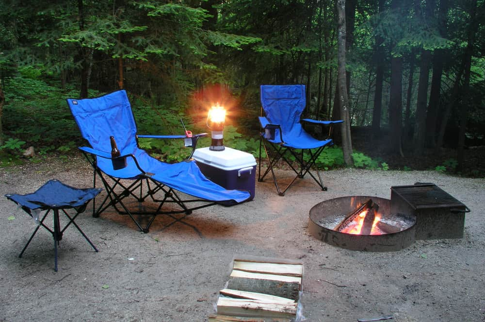 Here's an example of folding camp chairs around a camp fire pit.