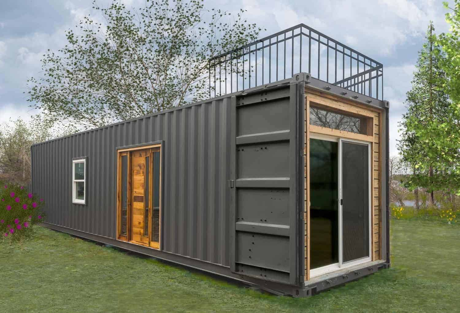 Tiny house created from a single shipping container with roof-top deck.