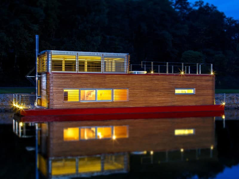 Floating home by Milan Řídký is located in Marina Vltava, Nelahozeves, Czech Republic