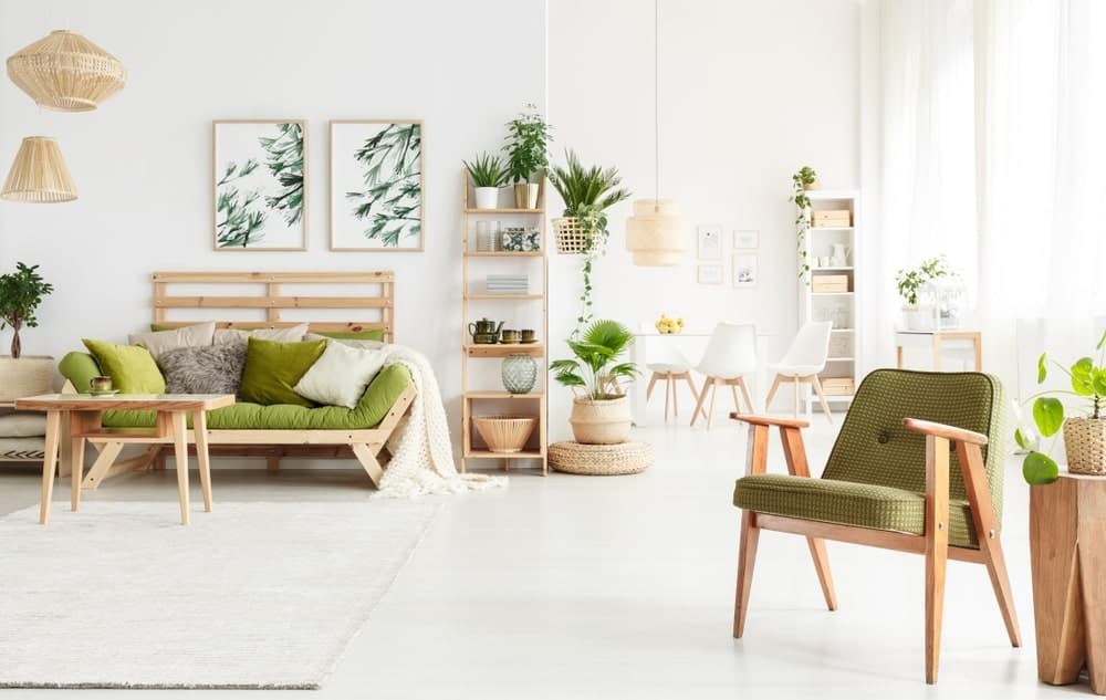 A Scandinavian-Style living room featuring a green shade added by multiple indoor potted plants surrounded by white walls and white flooring.