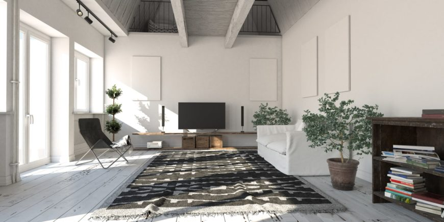 Spacious Scandinavian-Style living room with hardwood floors and a large rug. The ceiling adds style to the room and looks absolutely stunning.