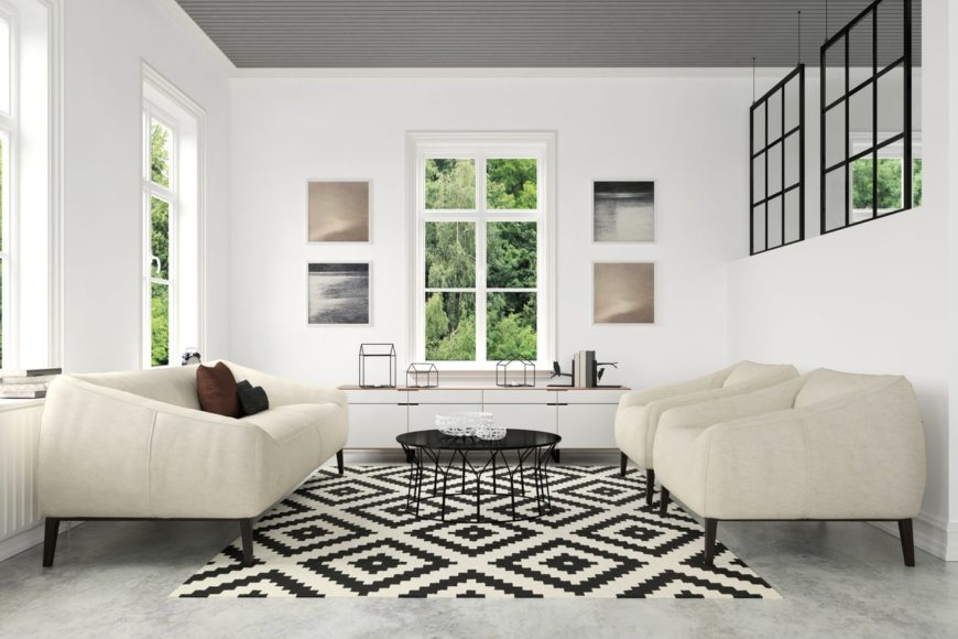 Medium-sized Scandinavian-Style living room with comfy seats set on the gray flooring topped by an area rug.
