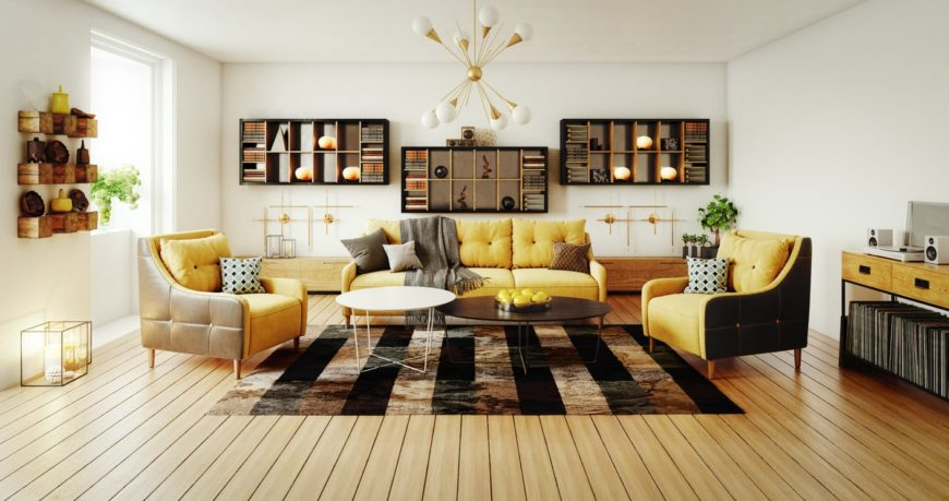 Large Scandinavian-Style formal living room boasting yellow-accent sofa set and a stylish rug covering the hardwood flooring. The room is surrounded by white walls and ceiling lighted by fancy ceiling lighting.