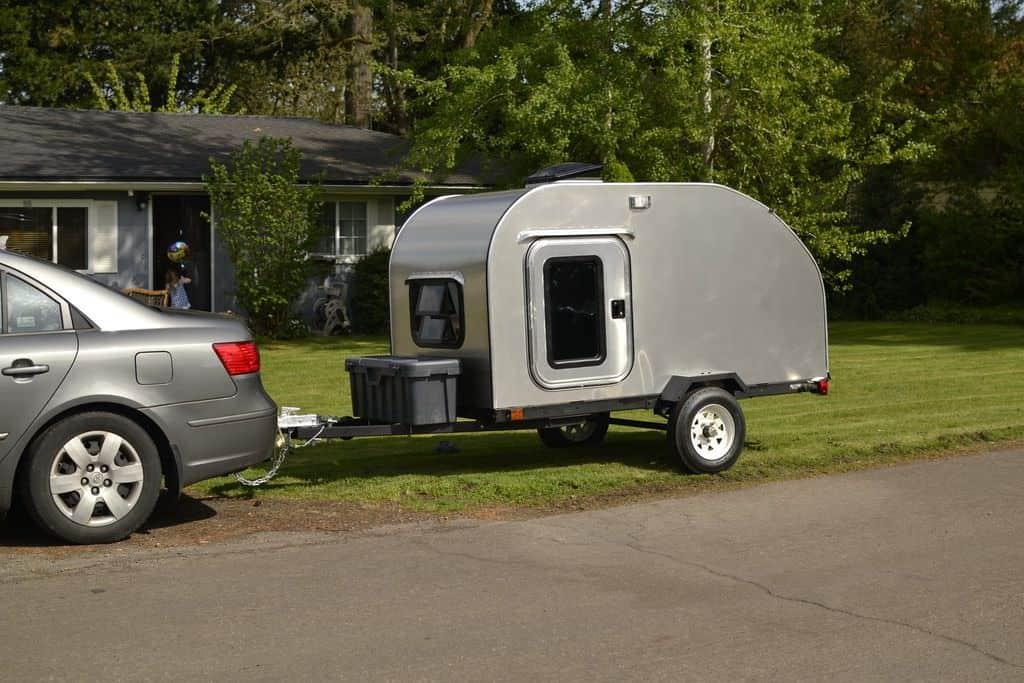 silver diy teardrop trailer
