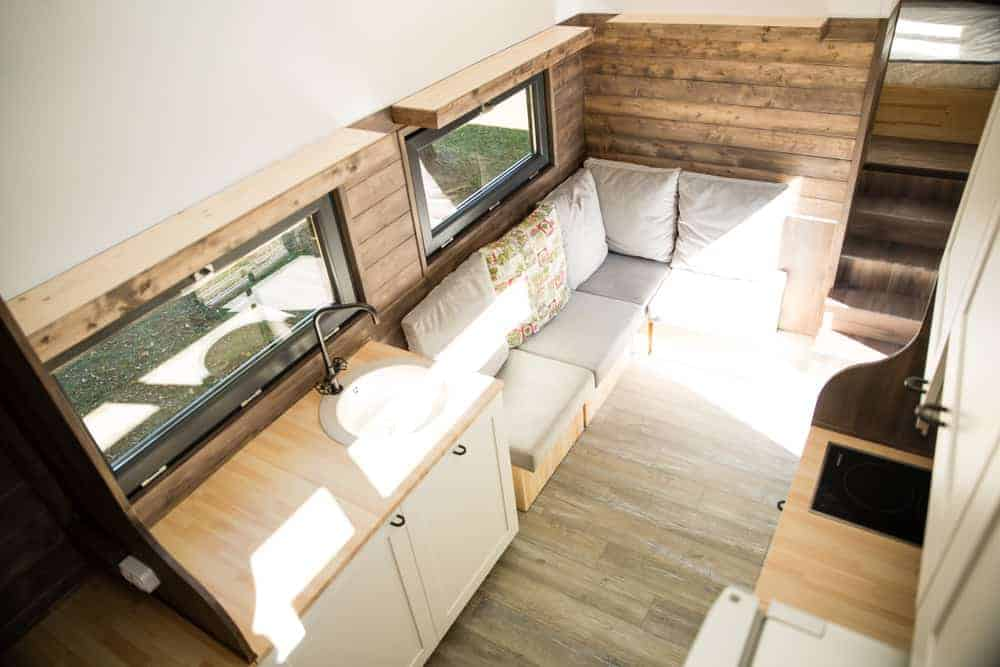 Aerial view of a very simple galley kitchen. Having cabinets on both sides of the home creates more counterspace.