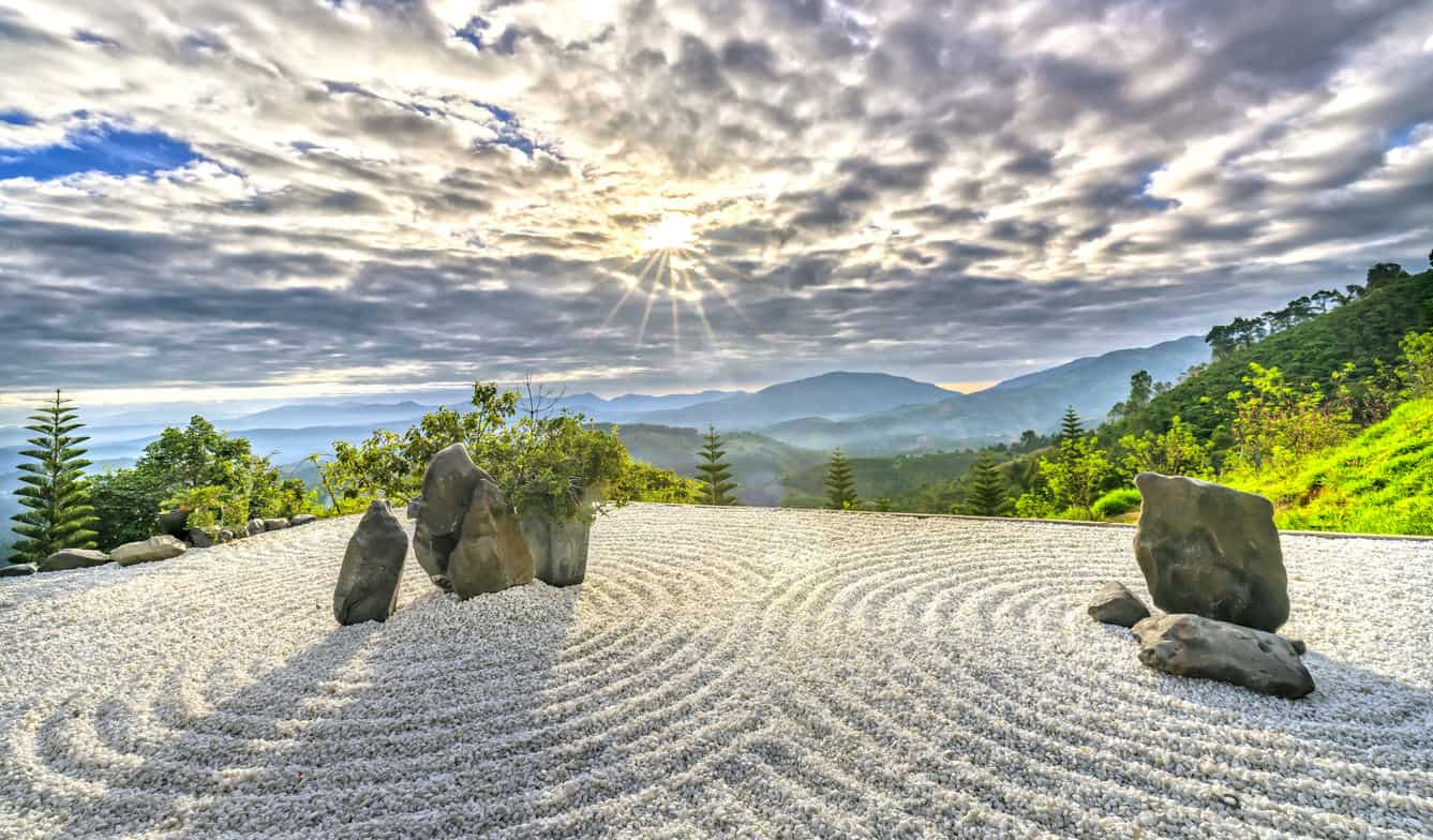 Bao Loc, Vietnam - Rock Garden with the rays of sunshine radiating in the sky creates a peaceful feeling at Bao Loc, Vietnam.