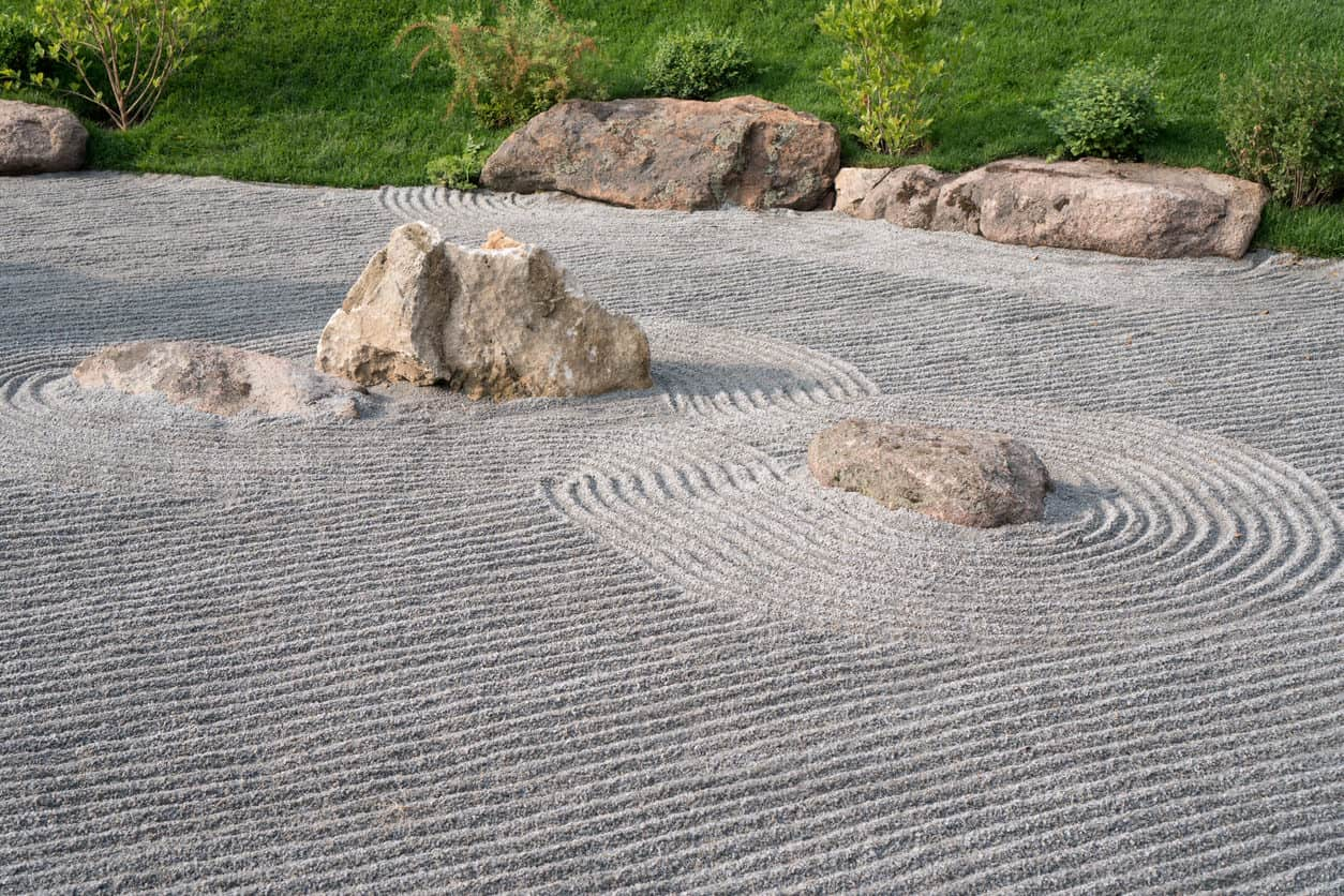 Japanese garden of stones at morning