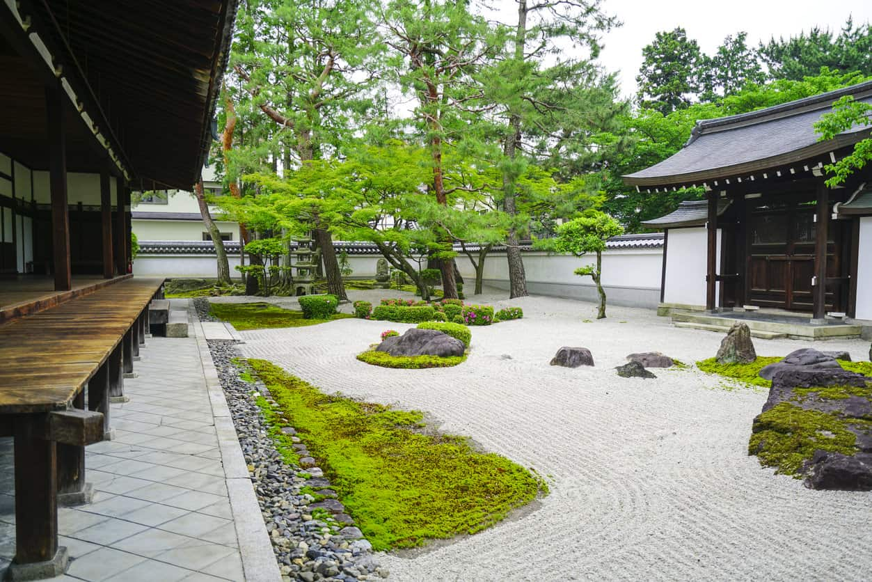 Small Zen garden in between Chion-ji Temle buildings walls. It is Japanese type rock garden presenting miniature landscape. It is carefully arranged meditation place with rocks, water, or water features, sand, moss, trees and bushes .