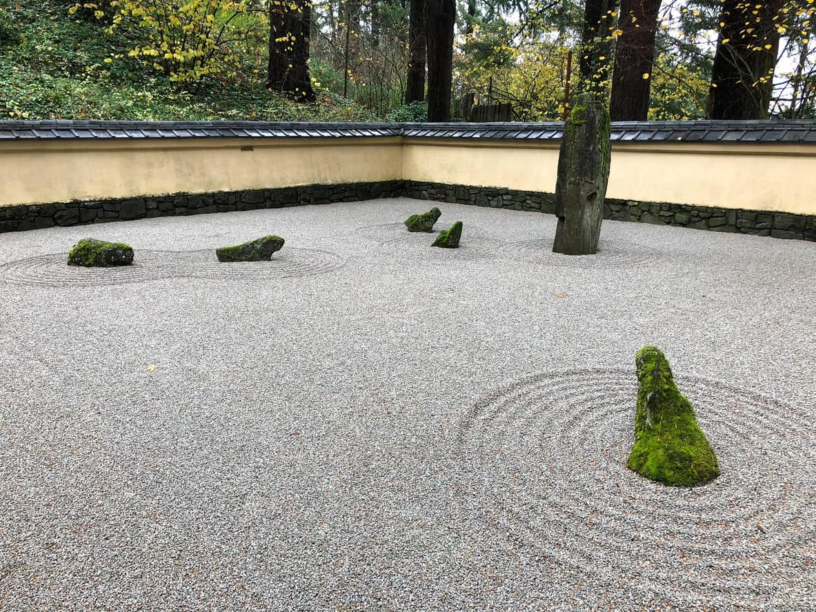 Zen rock garden at the Japanese Tea Gardens in Portland Oregon.