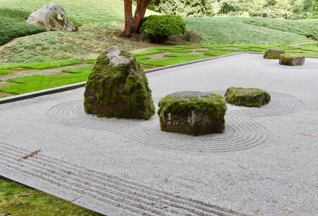 Japanese Zen Garden near Seattle with raked sand around rocks