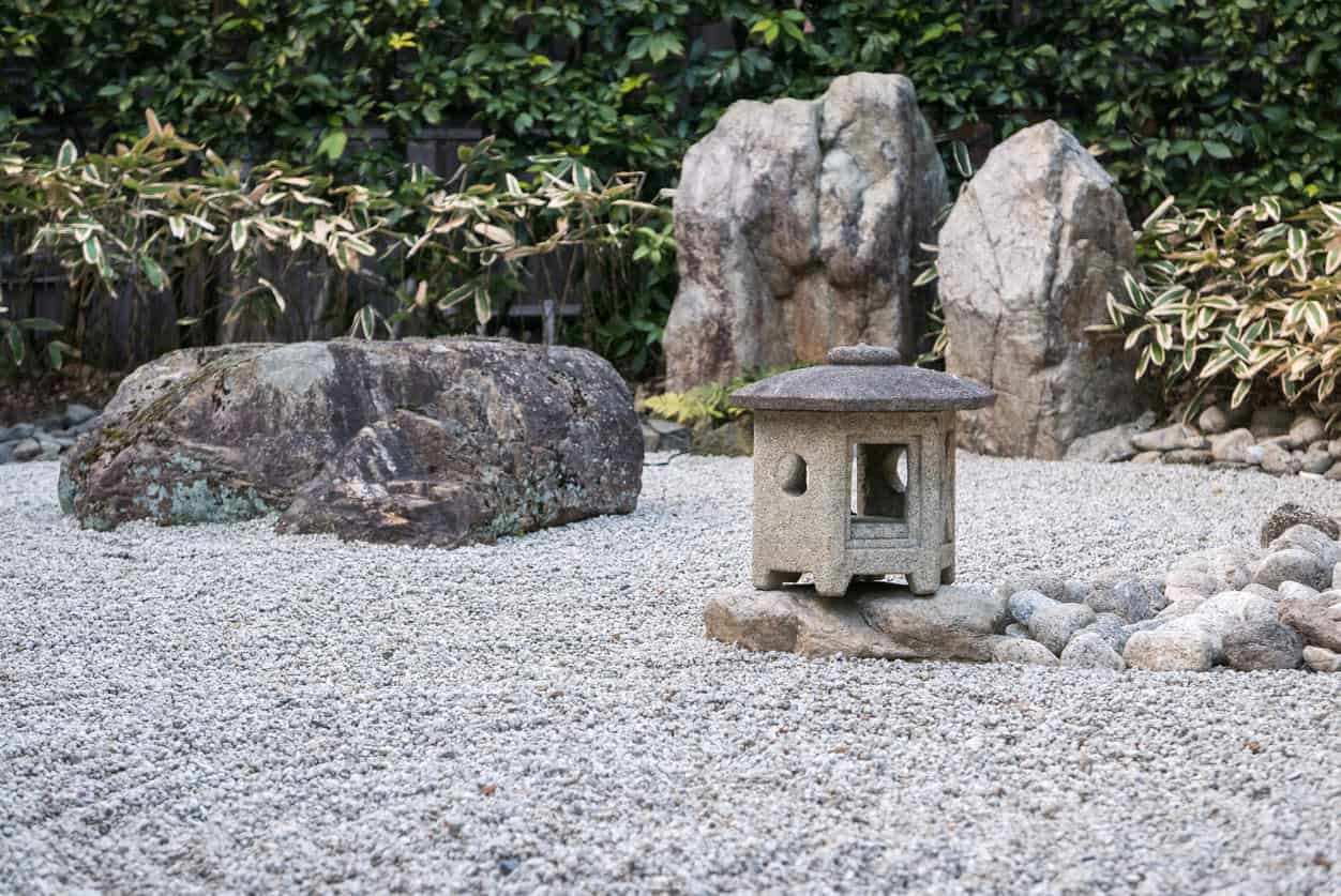 Kyoto, Japan - A stone lantern in the traditional zen garden of Shoren-in Temple, a Buddhist temple located Kyoto's Southern Higashiyama district.