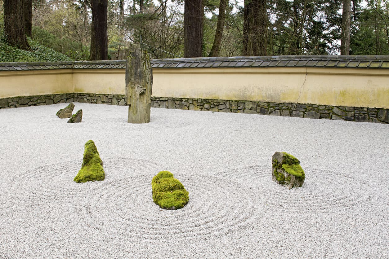 Stone and Sand Garden at Portland Japanese Garden with Tiled Roof Wall