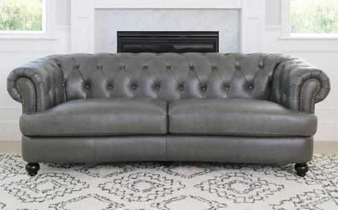 Barnabas Top Grain Leather Chesterfield Sofa