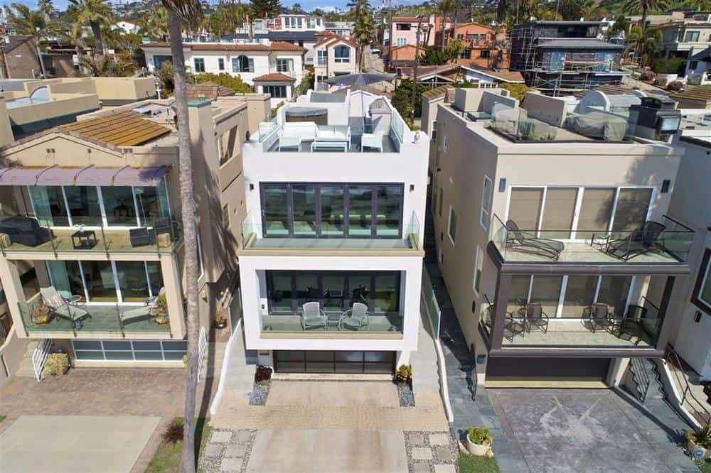La Jolla beach house aerial front view