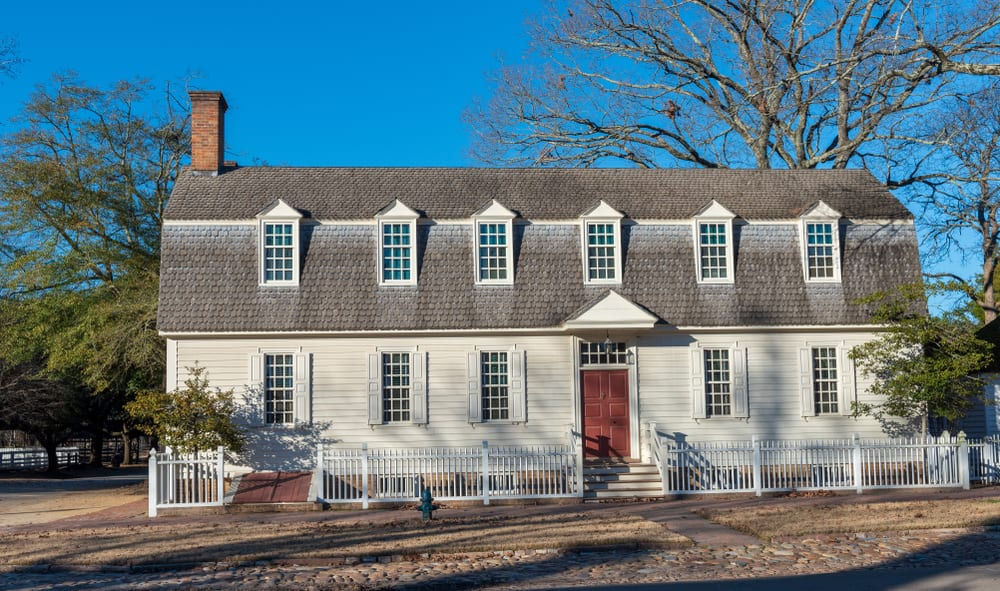 A Dutch colonial house in Williamsburg VA