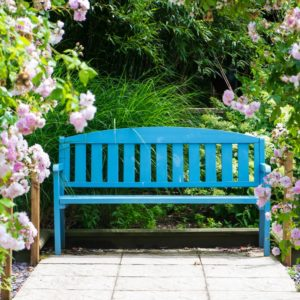 A painted garden bench