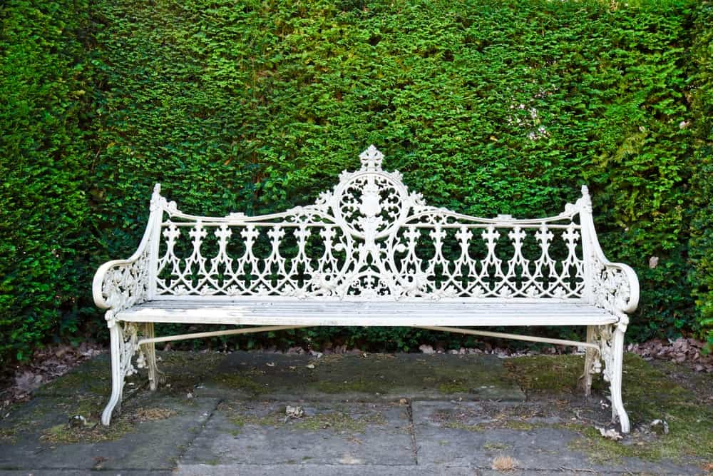 A garden bench made of metal