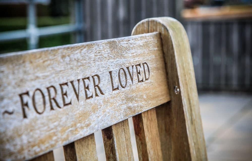 A memorial bench for garden