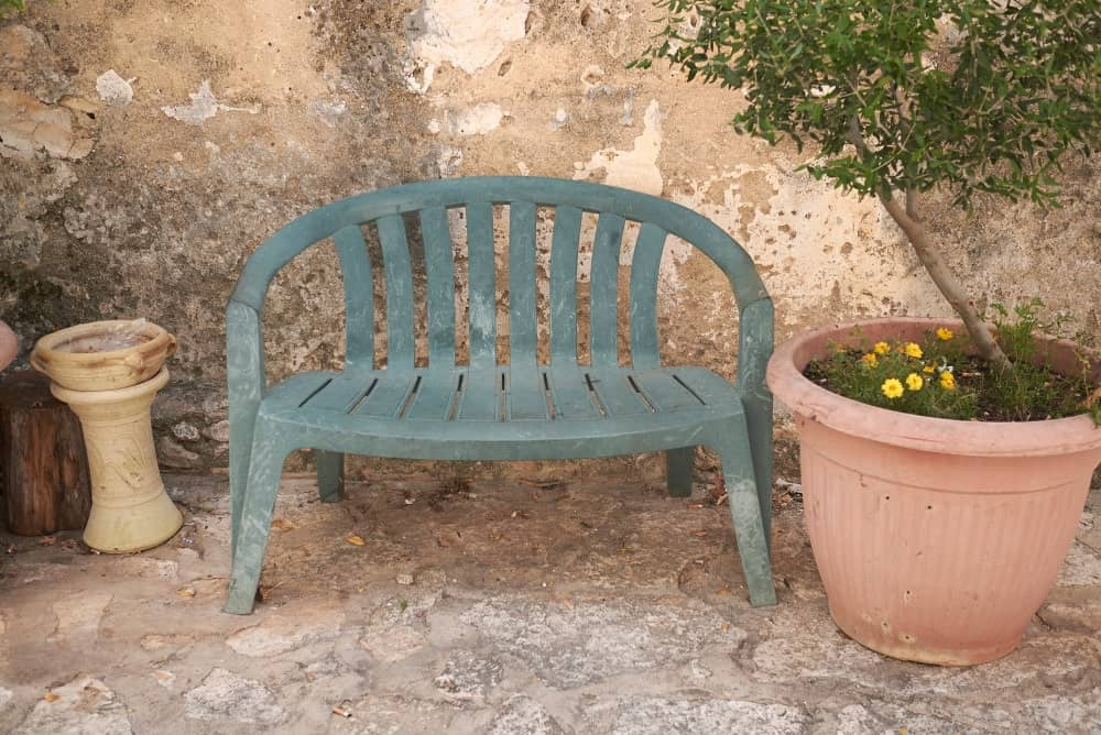 A plastic bench for garden