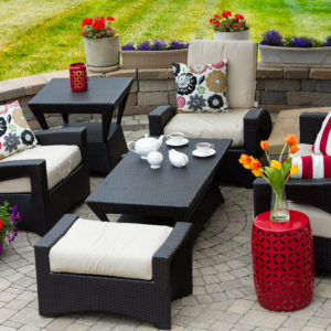 Aerial view of patio with nice furniture