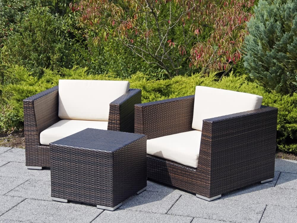 Rattan armchairs and table for garden