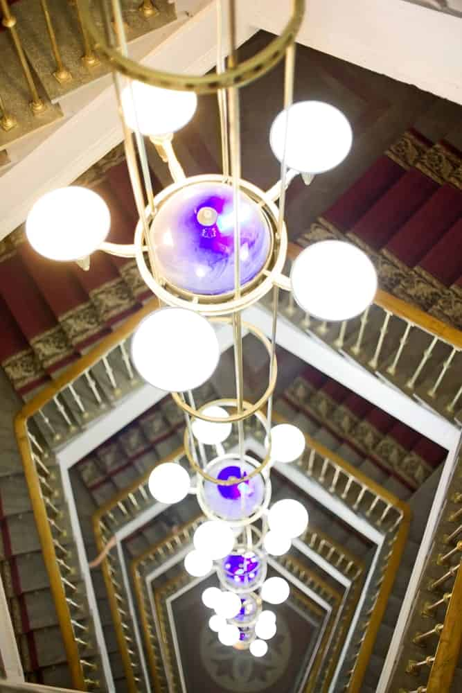 A Chandelier in the Center of the Staircase