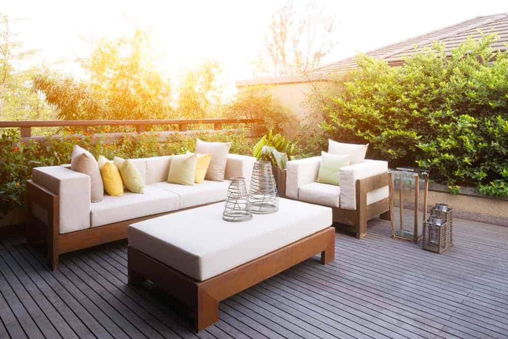 Deck with sofa chair and coffee table