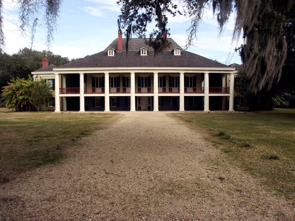 Destrehan Plantation built in 1787 in Louisiana is a good example of a French colonial style house