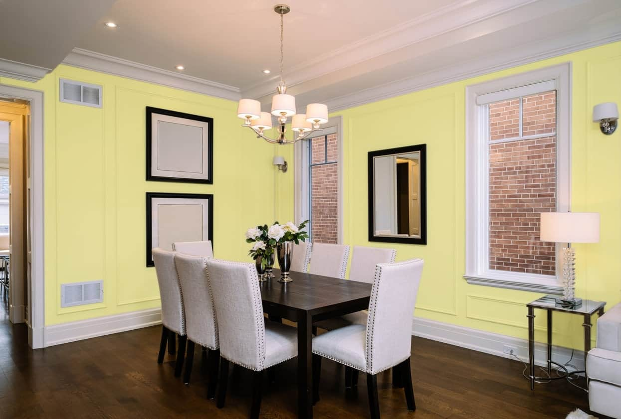 Yellow Dining Room Interior - Pantone 100