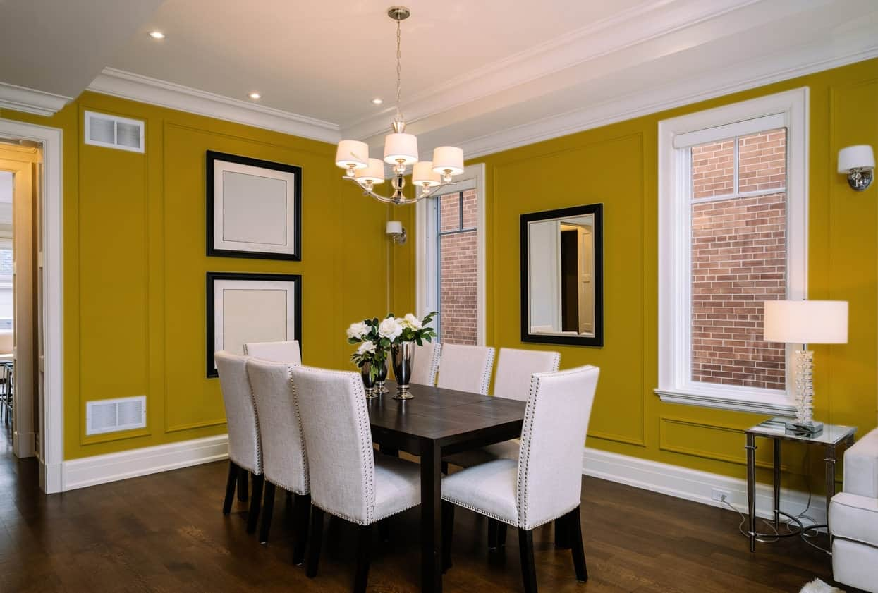 Mustard Yellow Dining Room Interior - Pantone 117