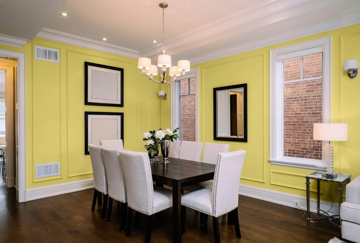 Soft Yellow Dining Room Interior - Pantone 127