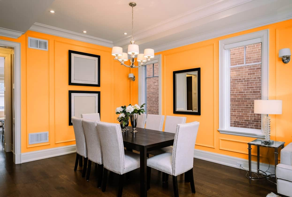 Orange Dining Room Interior - Pantone 157