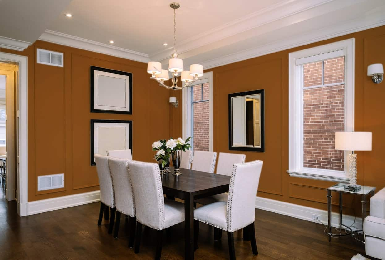 Brown Orange Dining Room Interior - Pantone 160