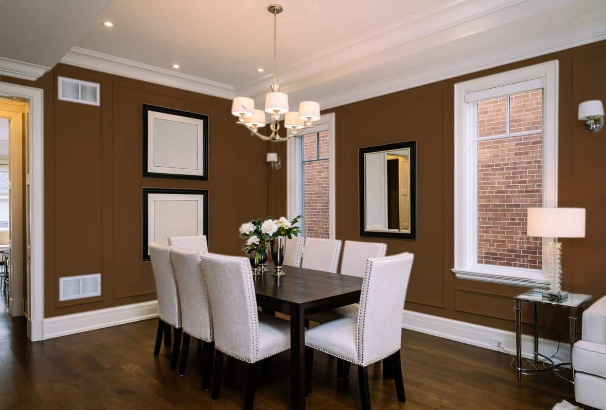 Brown Dining Room Interior - Pantone 161