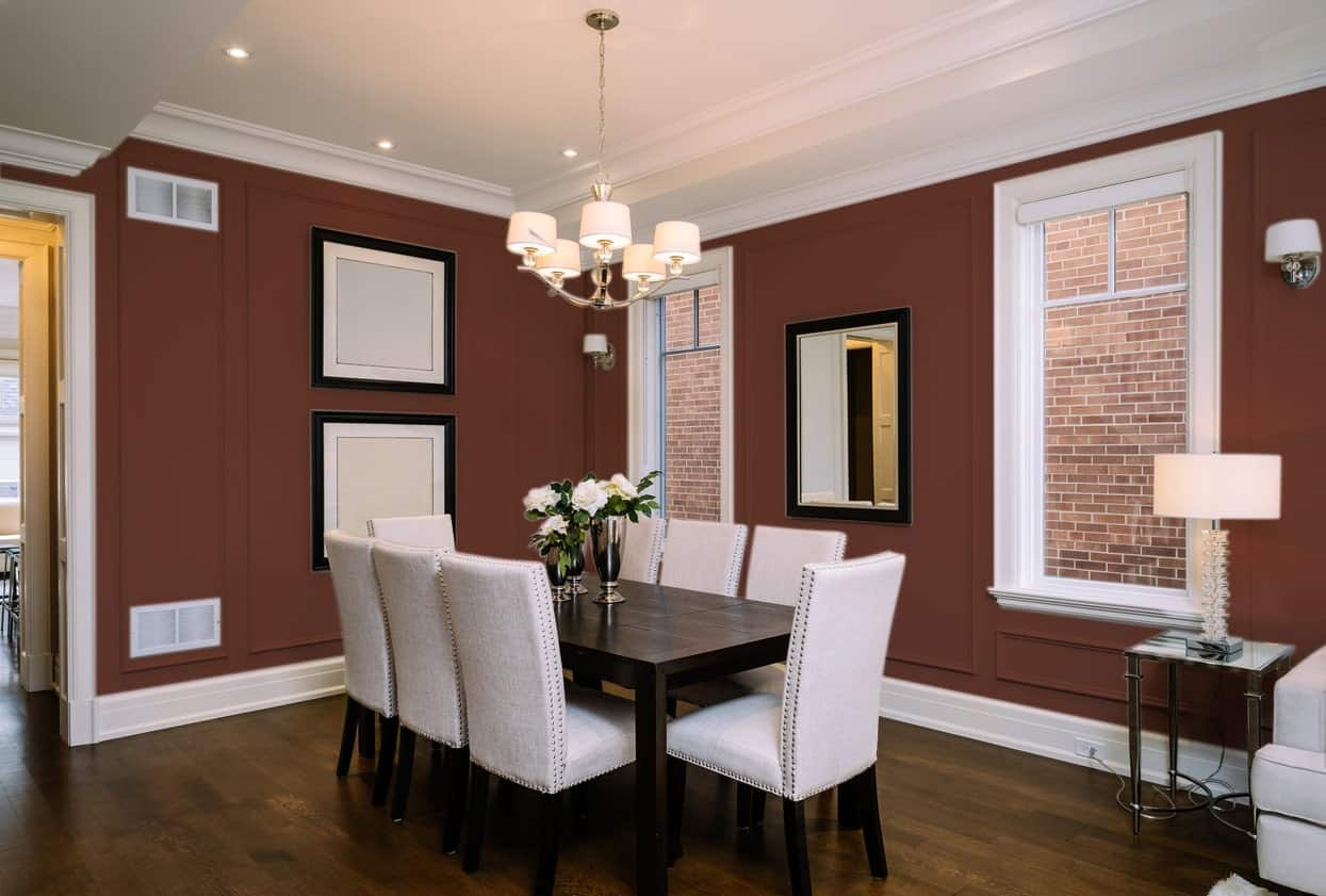 Burgundy Dining Room Interior - Pantone 175