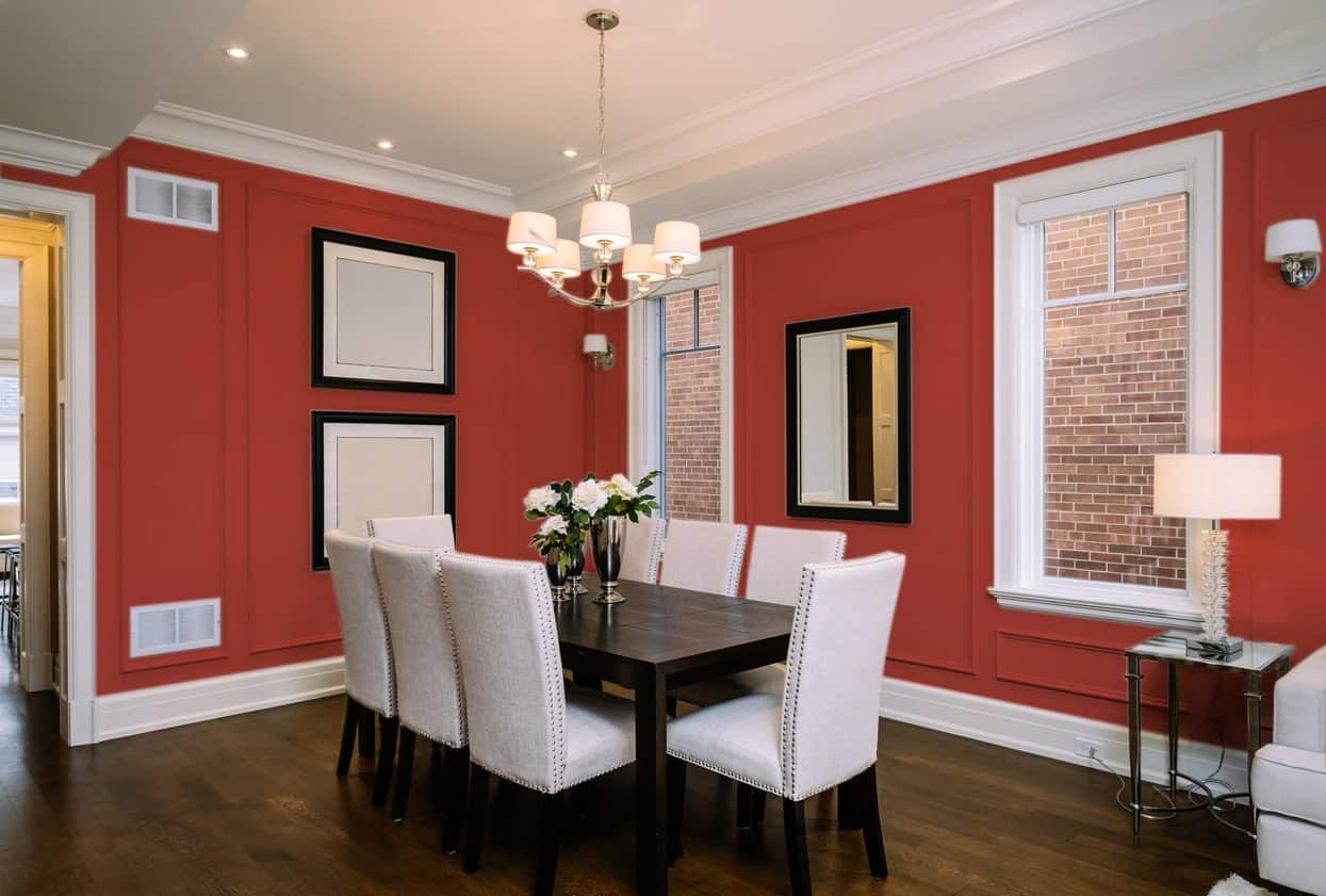 Red Dining Room Interior - Pantone 180