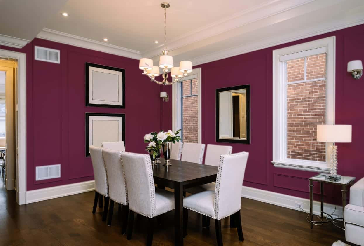 Deep Purple Dining Room Interior - Pantone 222