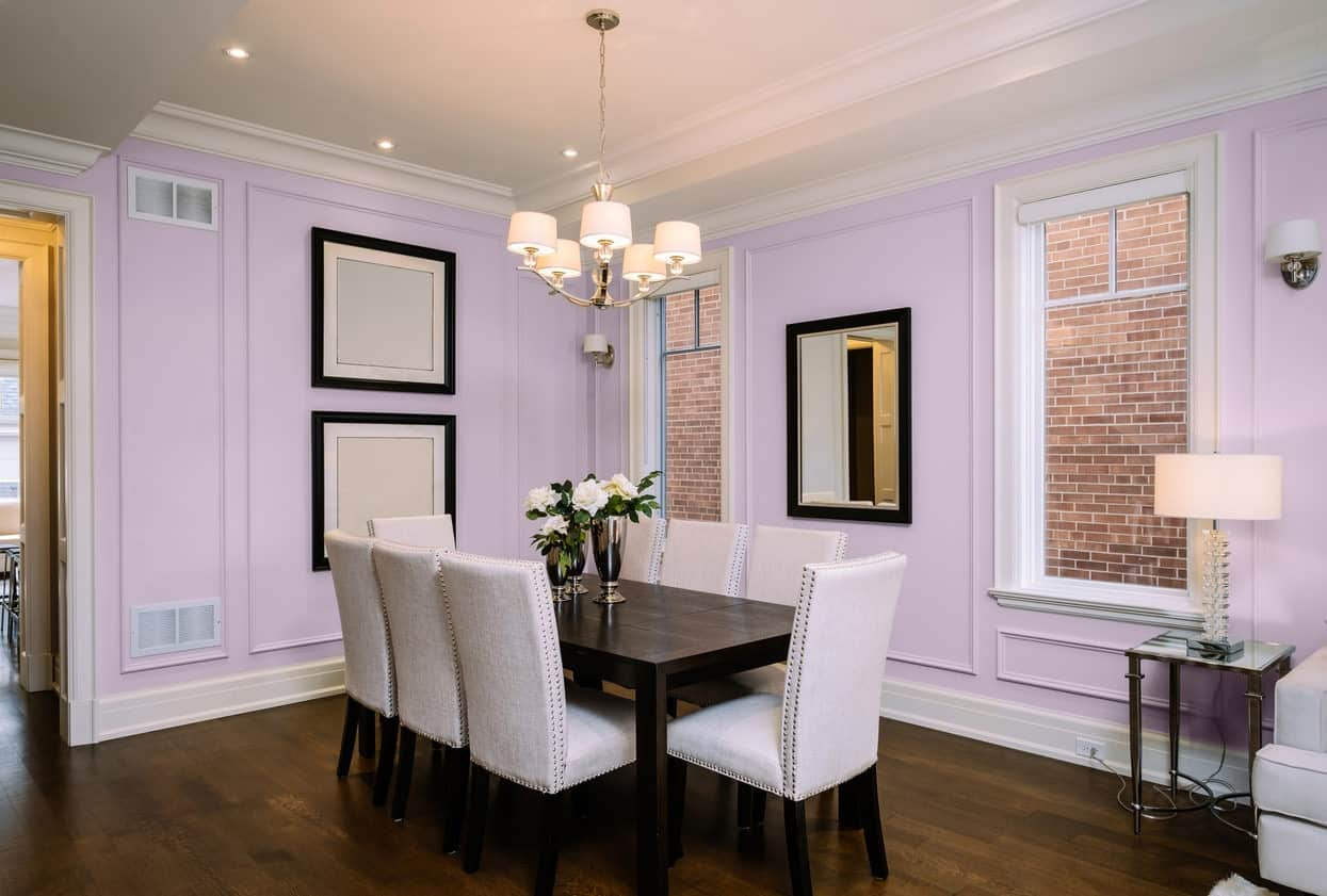 Light Purple Dining Room Interior - Pantone 263