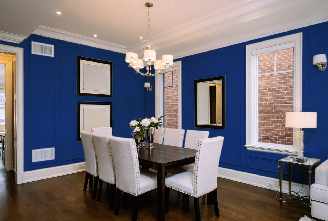 Navy Blue Dining Room Interior - Pantone 280
