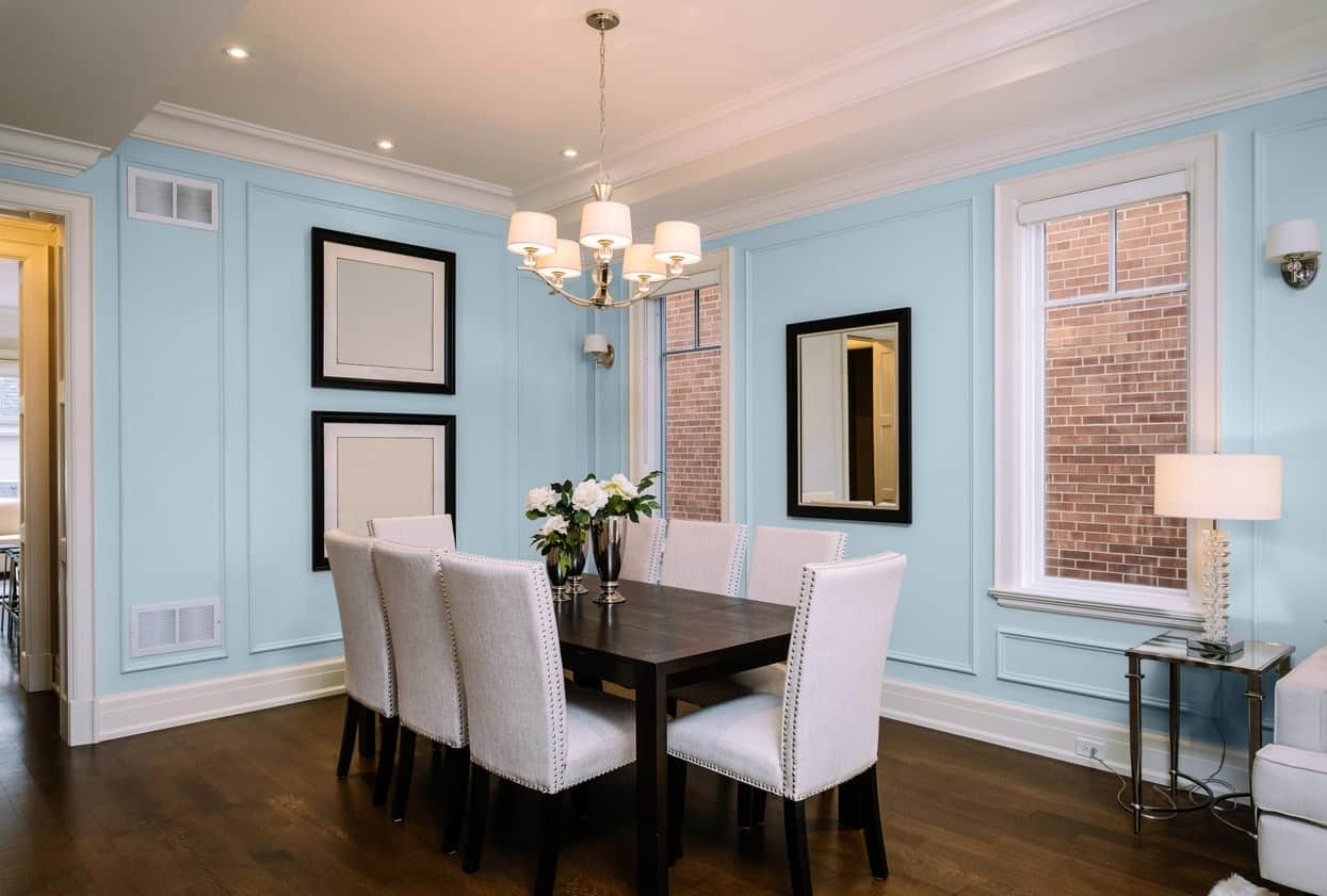 Light Blue Dining Room Interior - Pantone 290