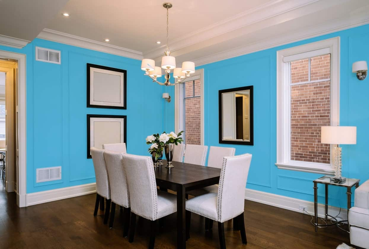 Sky Blue Dining Room Interior - Pantone 299