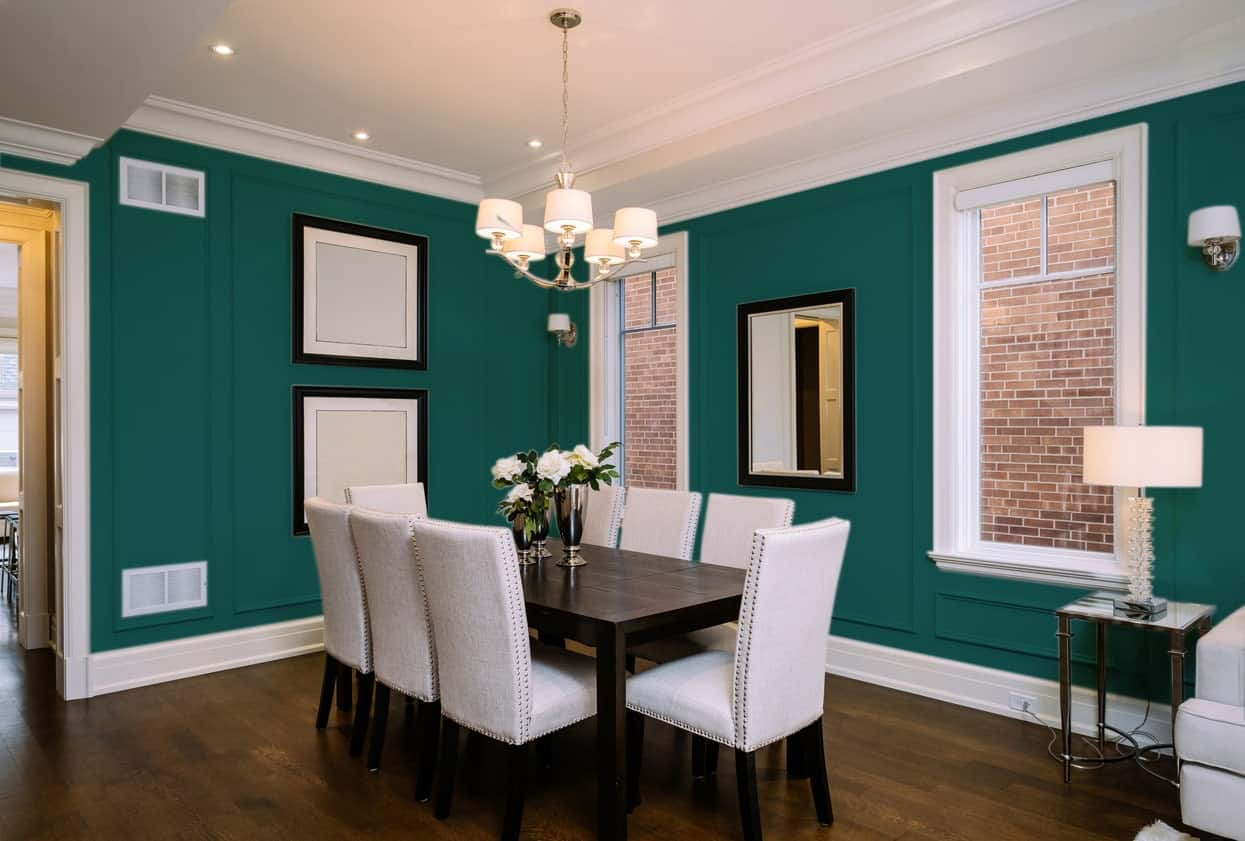 Blue Green Dining Room Interior - Pantone 330