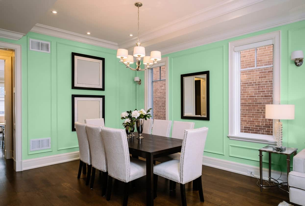 Light Green Dining Room Interior - Pantone 344