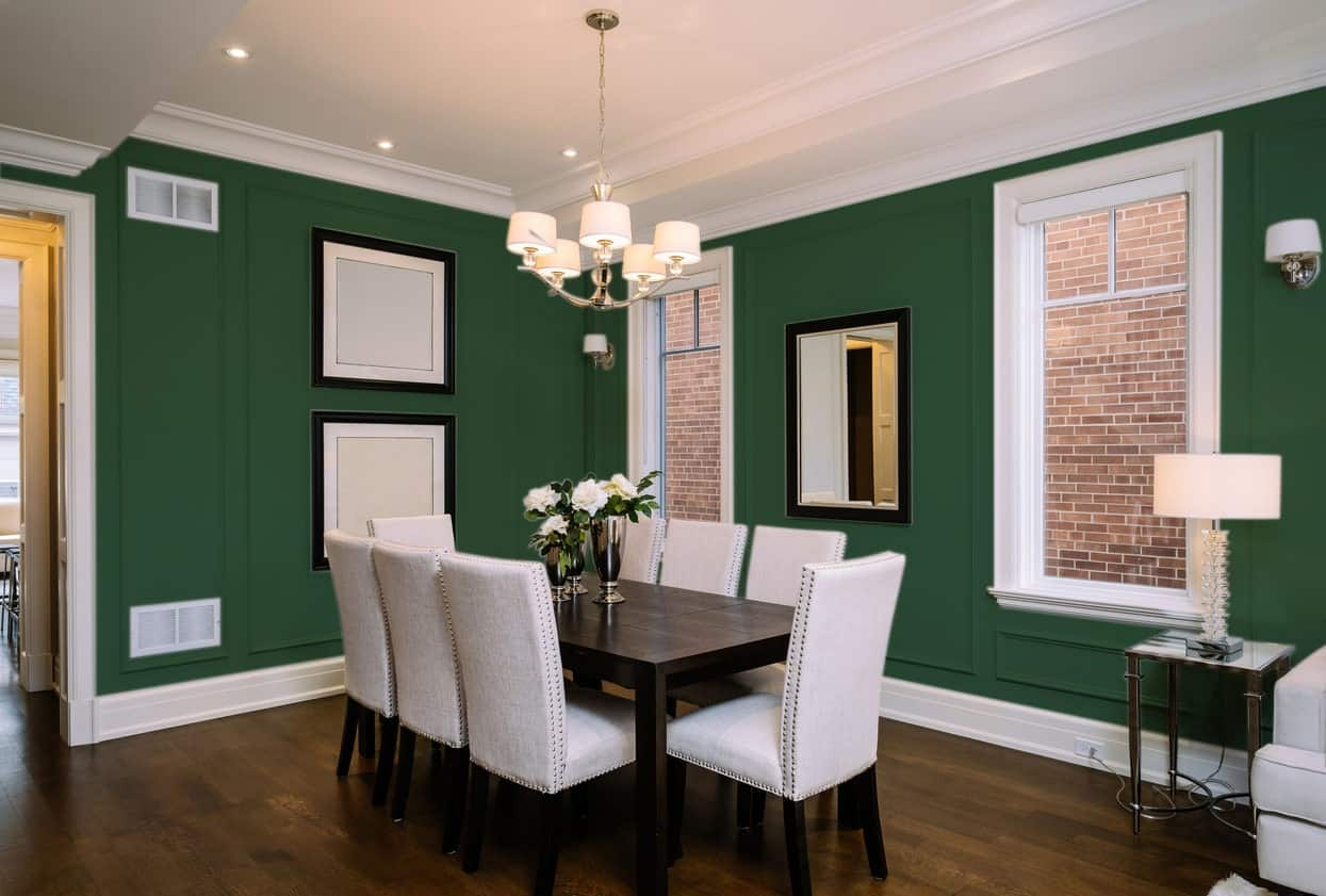 British Racing Green Dining Room Interior - Pantone 350