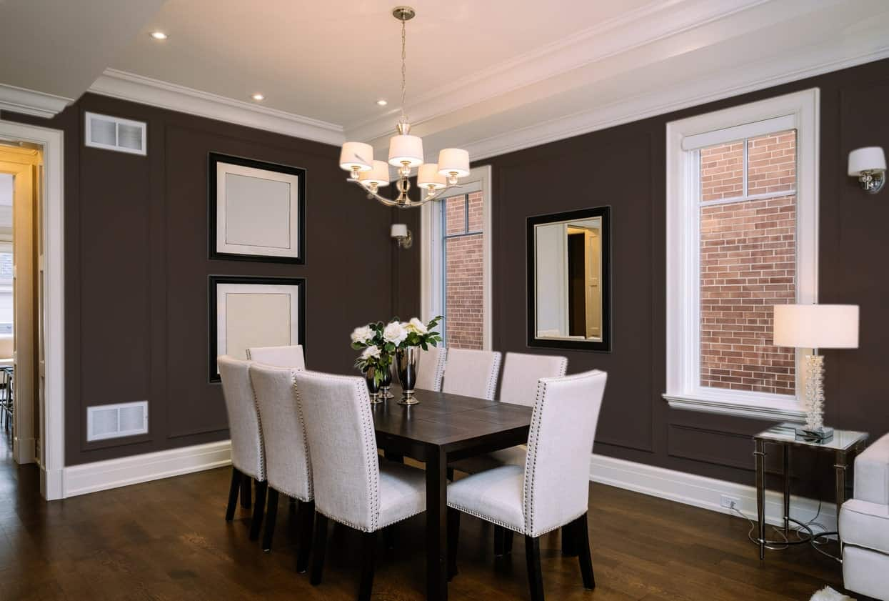 Black Dining Room Interior - Pantone 412