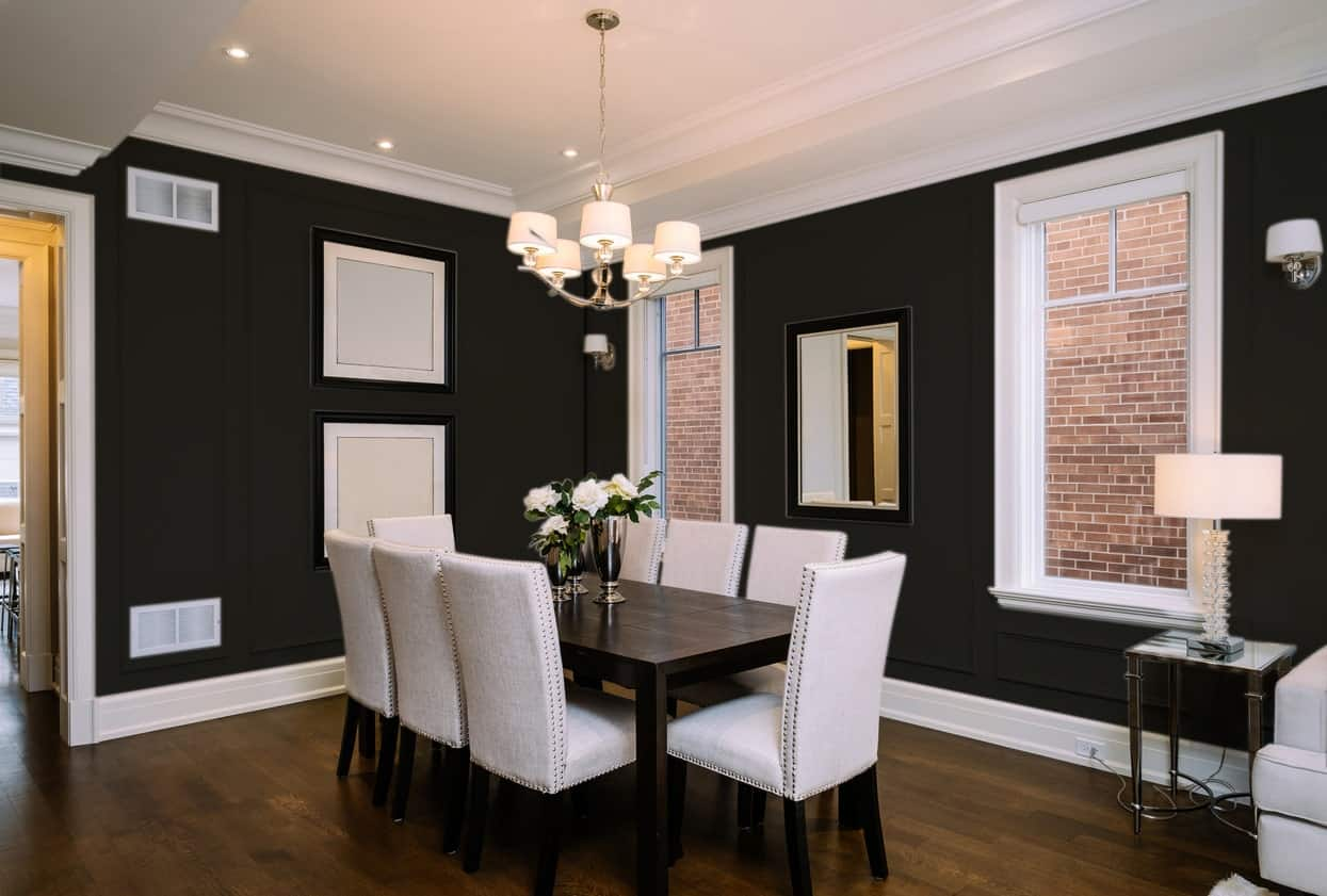Black Dining Room Interior - Pantone 419
