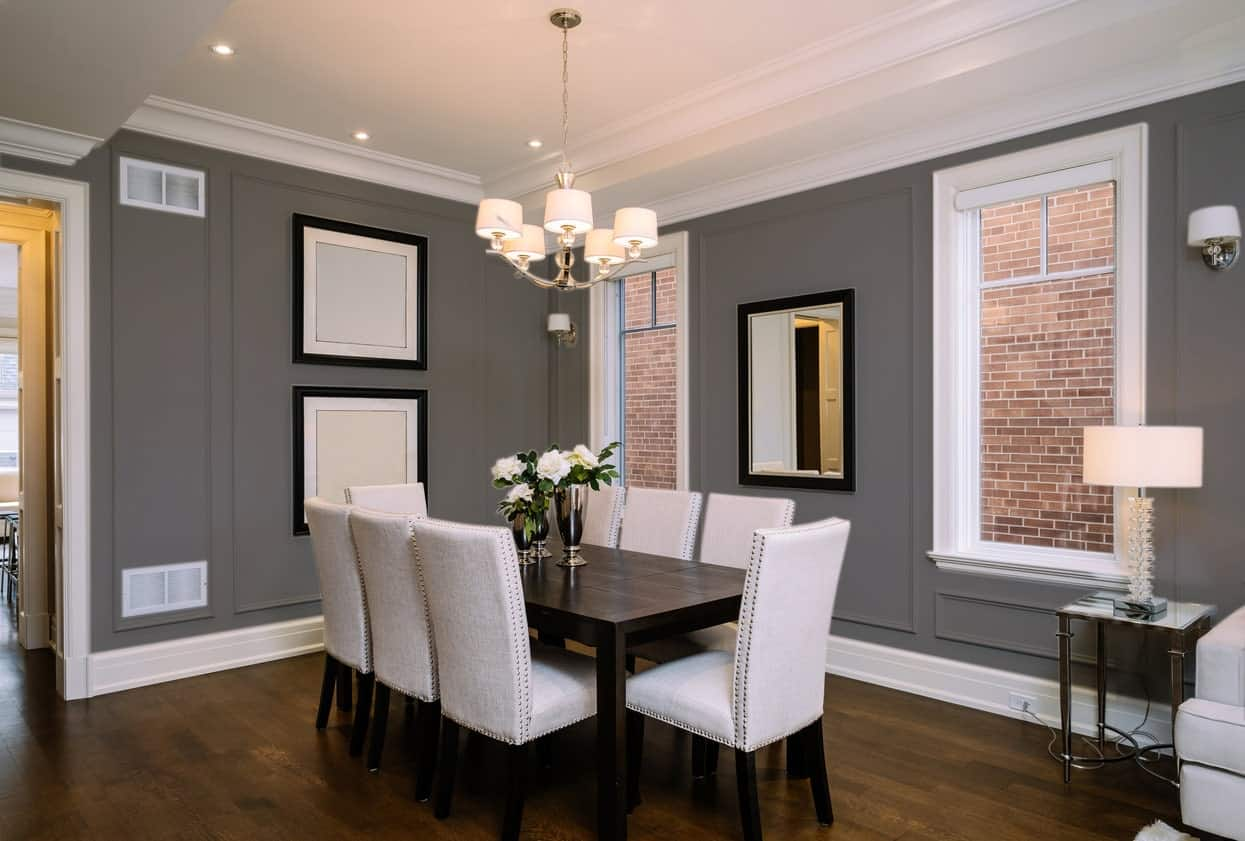 Dark Gray Beige Dining Room Interior - Pantone 425