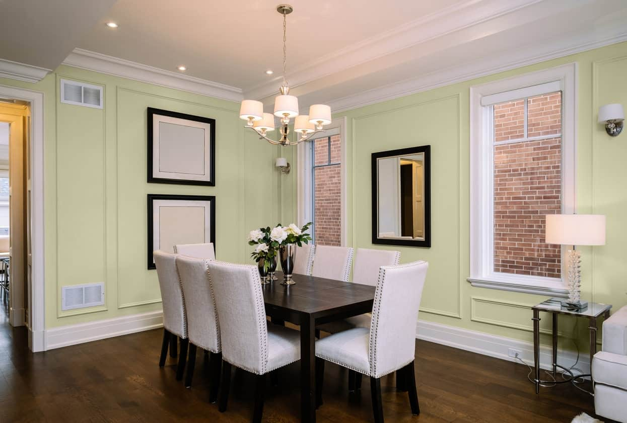 Light Green Dining Room Interior - Pantone 5807