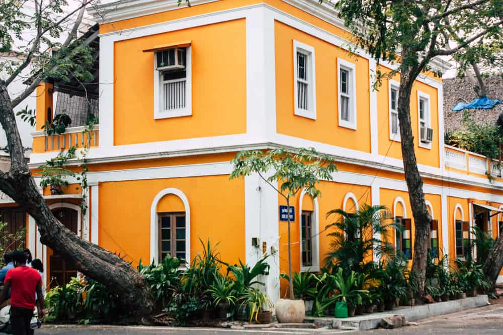 Example of a French colonial house in the French colonial city of Pondicherry, Tamil Nadu, India