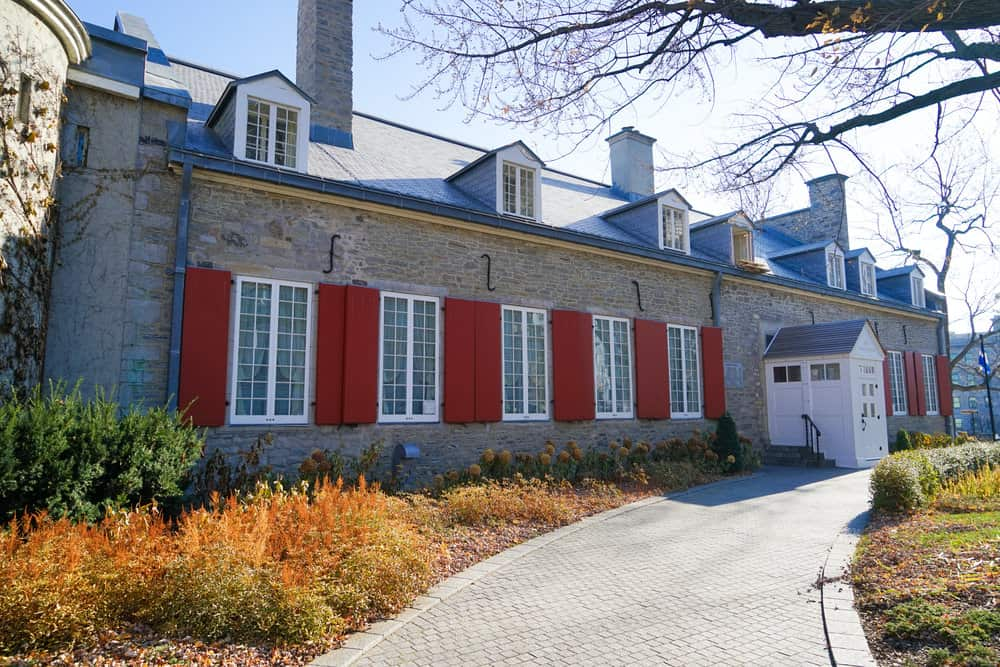 Exterior of Château Ramezay in Montreal, Canada - example of a French colonial style house,